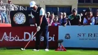 Tiger Woods Worst Shot ever in golf, Abu Dhabi fat top shank drive